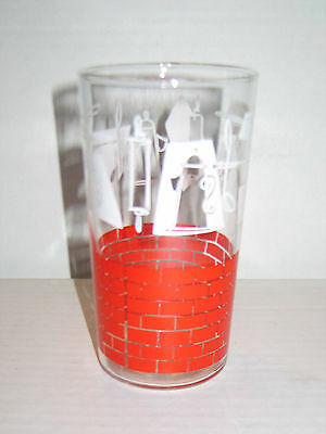 """Vintage Hazel Atlas Swanky Swig 4.75"""" Red and White Colonial Kitchen Glass"""