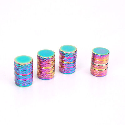 4Pcs Universal Aluminum Alloy Car Air Valve Caps Dustproof Tire Valve Colorful