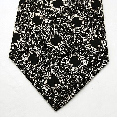 Zenith Pure Silk Made in Italy Circle Vintage 70s Psychedelic pattern Black Tie