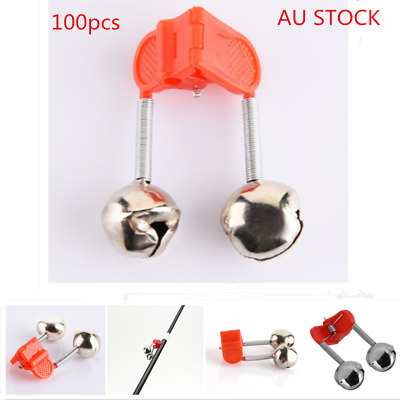 100X Red Plastic Clip Double Rod Bite Alarm Fishing Bells Ring Fishing Tackle KD