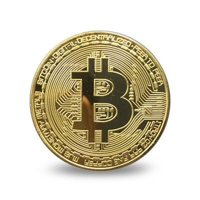 Gold Bitcoin Commemorative Art Collectible Gift Bit Coin Iron Gold Plated Coins