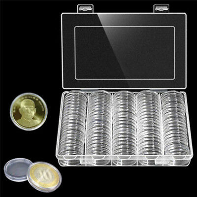 100PCS 30mm Coin Cases Capsules Holder Applied Clear Round Storage Case w/ Box