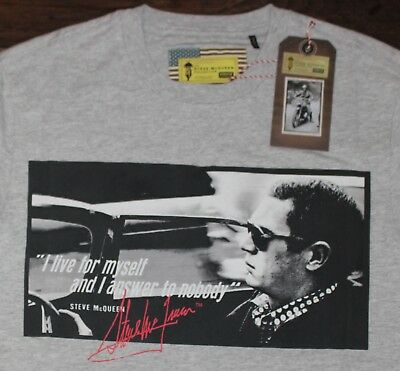 New BARBOUR INTERNATIONAL T-SHIRT Men's SMALL S Gray Steve McQueen Live Myself