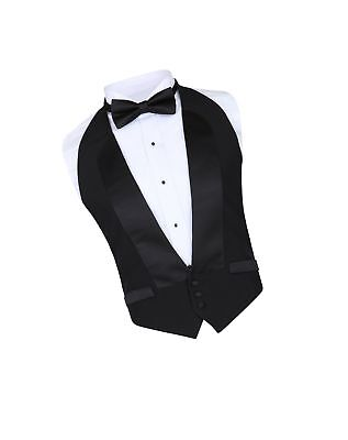 Men's Classic Formal 100% Wool Black Backless Tuxedo Vest Includes Bow Tie