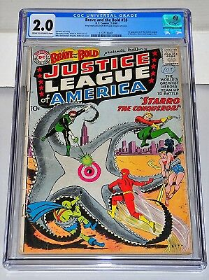 Brave and the Bold 28 CGC 2.0 CR/OW Pages 1st Justice League Of America NICE