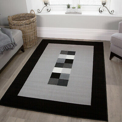 Black Grey Silver Neutral Geometric Rug Small Large Mats Hallway Runner Rug UK
