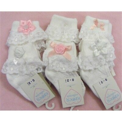 Kinder One Pair of Baby Girls Bows Lace Frilly Ankle Socks Romany Spanish Style