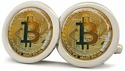 Bitcoin Cryptocurrency Silver Polished Finish Cufflinks New