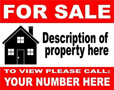 House Flat Property FOR SALE sign boards x2 Personalised Correx Board + FREE P&P