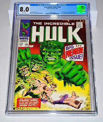 Incredible Hulk 102 CGC 8.0 White Pages