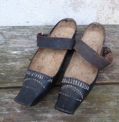 Antique French 1890/1900  French ornate carved wooden clogs