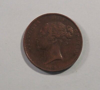 1854 Great Britain One Penny Copper World Coin KM739 Seated UK England Trident b