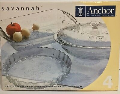 Never Used Anchor Hocking Savannah Floral Flowers Bake ware set