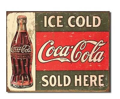 """Coca-Cola Ice Cold Sold Here Vintage Metal Sign Bar Garage Man Cave 16""""X13"""" NEW"""