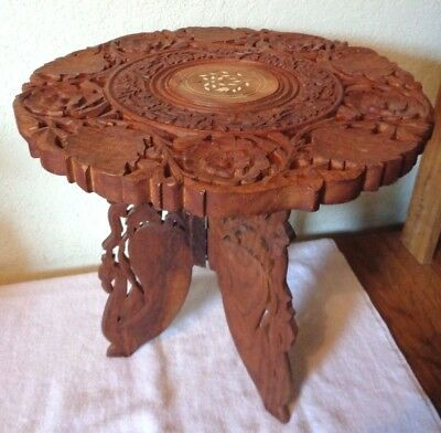 Vintage Wood Carving Carved Wooden Anglo Indian Folding Round Top Table Stand