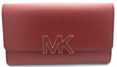 505ca1ae4ad0 Nwt Michael Kors Wallet Florence Pebble Leather Large Wallet Dark Red Color