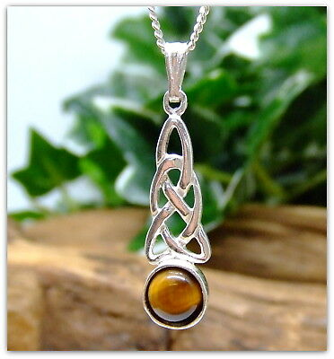"Celtic Tigers Eye Sterling Silver Necklace Gemstone Pendant 18"" silver chain"