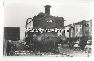 ry1355 - B.R.Locomotive Engine No.9612 at Westbury in 1954.- postcard