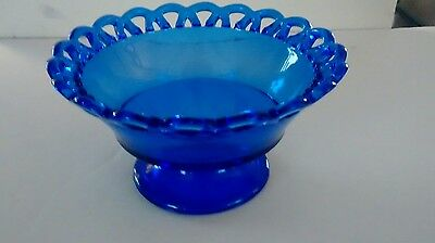 Beautiful Depression Glass Footed Cobalt Blue Bowl w/ open lace edge