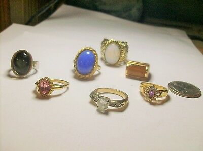 Collection { 7  } Of Rings---Rhinestone, Tigers Eye &  Sterling---Vintage