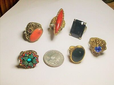 Collection { 6  } Of  Adjustable Rhinestone Rings------Vintage