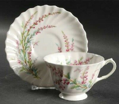 Royal Doulton China Bell Heather Scalloped Footed Cup And Saucer Set Teacup