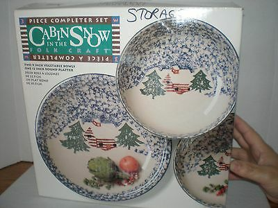 Tienshan Cabin in the Snow 3pc Completer set, 2 vegetable bowls, 1 platter NEW