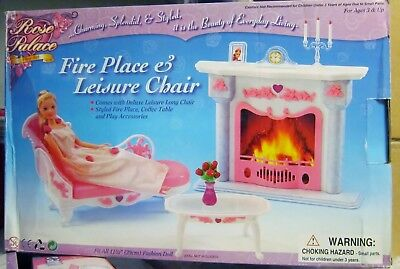 *NEW* Gloria Barbie Doll House Furniture Fire Place & Leisure Chair Play Set