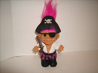 Russ Pirate Troll Doll with Eye Patch Hat and Gun Great Shape