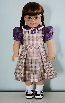 "18"" Doll Plaid School Jumper w/Contrast Blouse American Girl Molly"