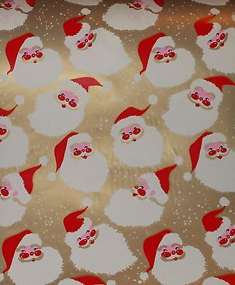 Vtg Christmas Store Wrapping Paper Gift Wrap 2 Yards 1950 Santa Face On Gold