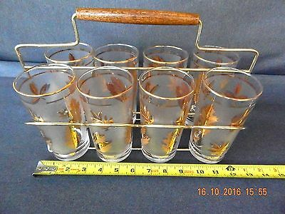 Vintage Lot Of 8 Gold Leaf Libbey  Glasses With  Fold Up Caddy.