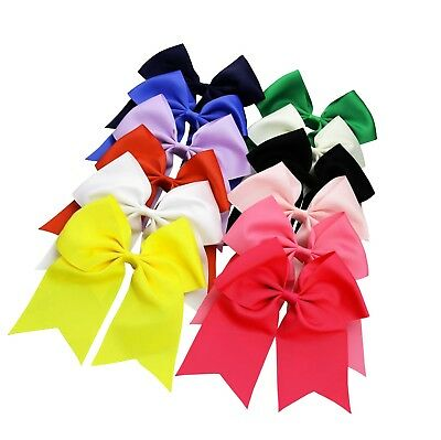 QtGirl 12 pcs Large Jumbo Cheer Hair Bows with Alligator Hair Clips for...