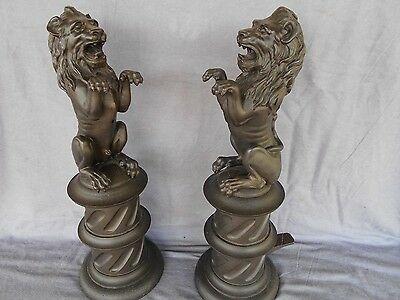 Cast Iron Pair Of Lion Fire Dogs