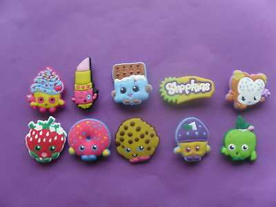 10 New Shopkins jibbitz crocs shoe wrist hair loom band charms cake toppers