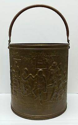 Antique Vintage Copper Brass Bucket Planter Tub Handle Embossed Colonial Can