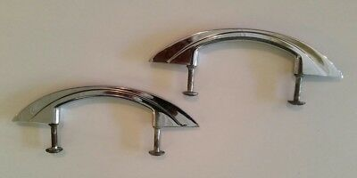 2 Vintage Retro Mid Century Chrome Cabinet Handles/Drawer Pull