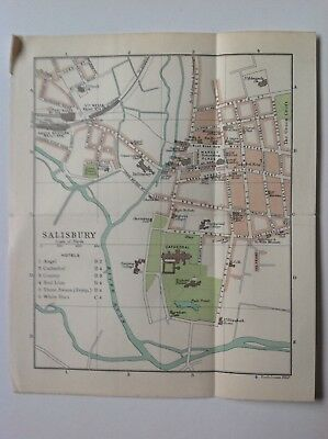Salisbury, Town Plan, 1908,  Antique Map, Original