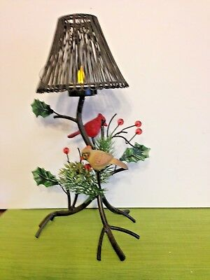 Christmas Candle Lamp -Branch With Pair Of Red Birds-Black Wrought Iron- Batte