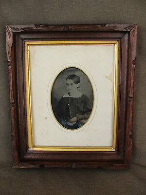 Antique Carved Walnut Shadowbox Picture Frame w/ Tintype