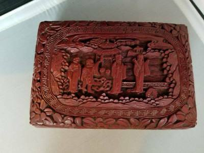 Antique vintage Chinese Cinnabar Deep Carved Box ~