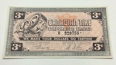 1962 Canadian Tire 3 Cents CTC-3-C-X Circulated No More Gas Power Banknote D117