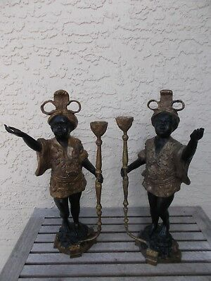 "Vtg Pair Art Deco Blackamoor Cast Bronze Tourch Bearer Figurines 16 "" tall GC"
