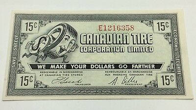 1962 Canadian Tire 15 Cents CTC-7-C Almost Uncirculated Money Banknote D118