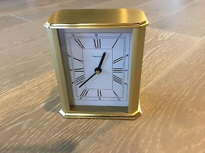 "Tiffany & Co Portfolio Brass Glass Front Desk Clock 5"" Tall Vintage German Made"