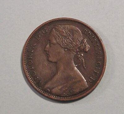 1863 Great Britain 1 Penny Bronze World Coin Britania Seated UK England English