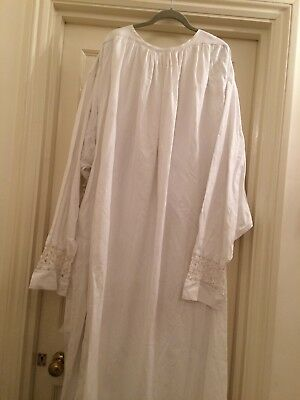 Vintage Long White Cotton Priest Robe Shirt Night Gown Lace Large