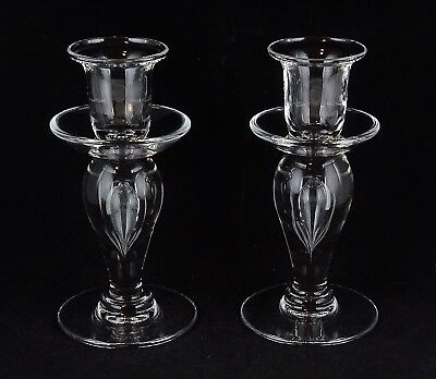 "Pair Of St. Louis Crystal Sirius 5.75"" Giftware French Clear Glass Candlesticks"
