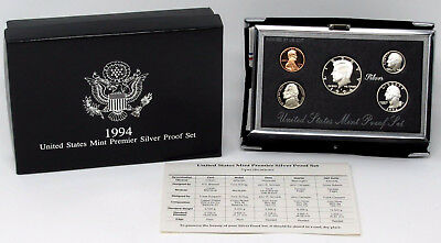 1994 US Premier Silver Proof Set - 3 Silver Coins - GEM FDC