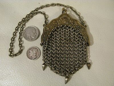 Antique Art Nouveau Floral Brass Gold T French Doll Chatelaine Mesh Coin Purse